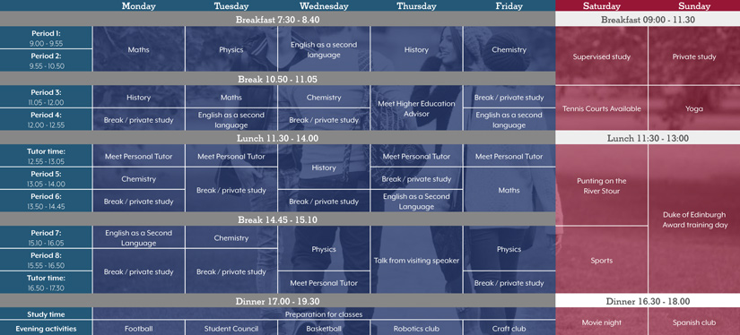 Sample timetable | CATS | Preparing you for university success